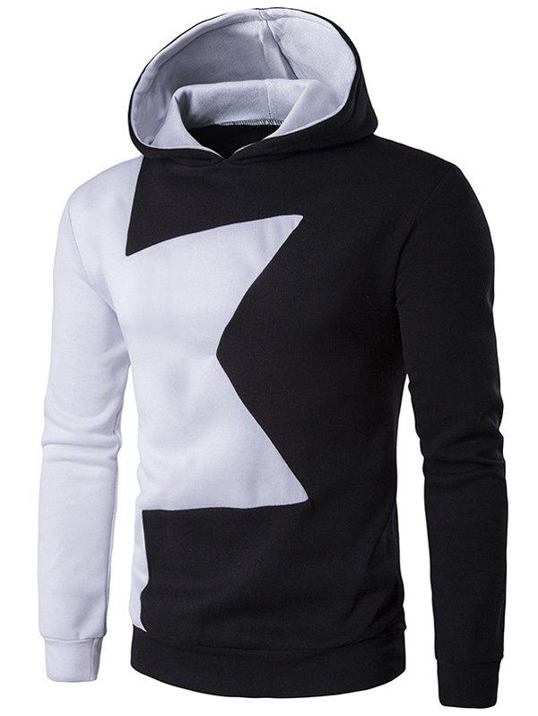 Best Long Sleeve Two Tone Pullover Black and White Hoodie men