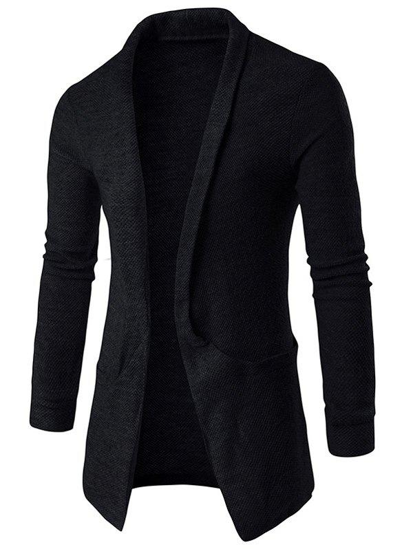 Pocket Texture Open Front CardiganMEN<br><br>Size: M; Color: BLACK; Type: Cardigans; Material: Cotton Blends; Sleeve Length: Full; Collar: Turn-down Collar; Style: Fashion; Weight: 0.3540kg; Package Contents: 1 x Cardigan;