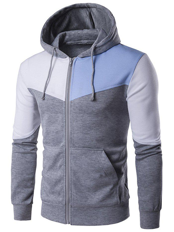 Fashion Contrast Panel Pocket Zip Up Hoodie
