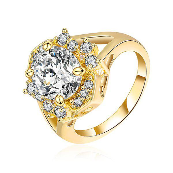 Rhinestone Oval RingJEWELRY<br><br>Size: 8; Color: GOLDEN; Gender: For Women; Metal Type: Others; Style: Trendy; Shape/Pattern: Geometric; Weight: 0.0300kg; Package Contents: 1 x Ring;