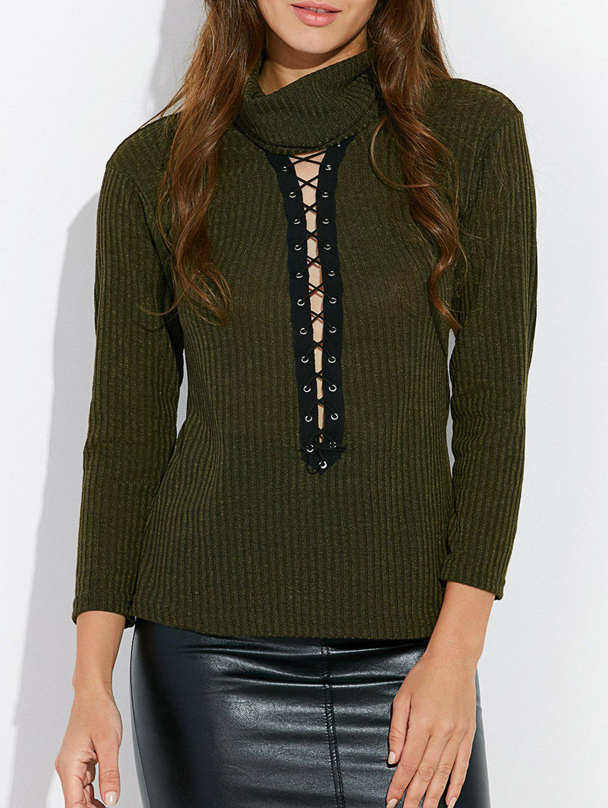 Cheap Lace Up Mock Neck Tee