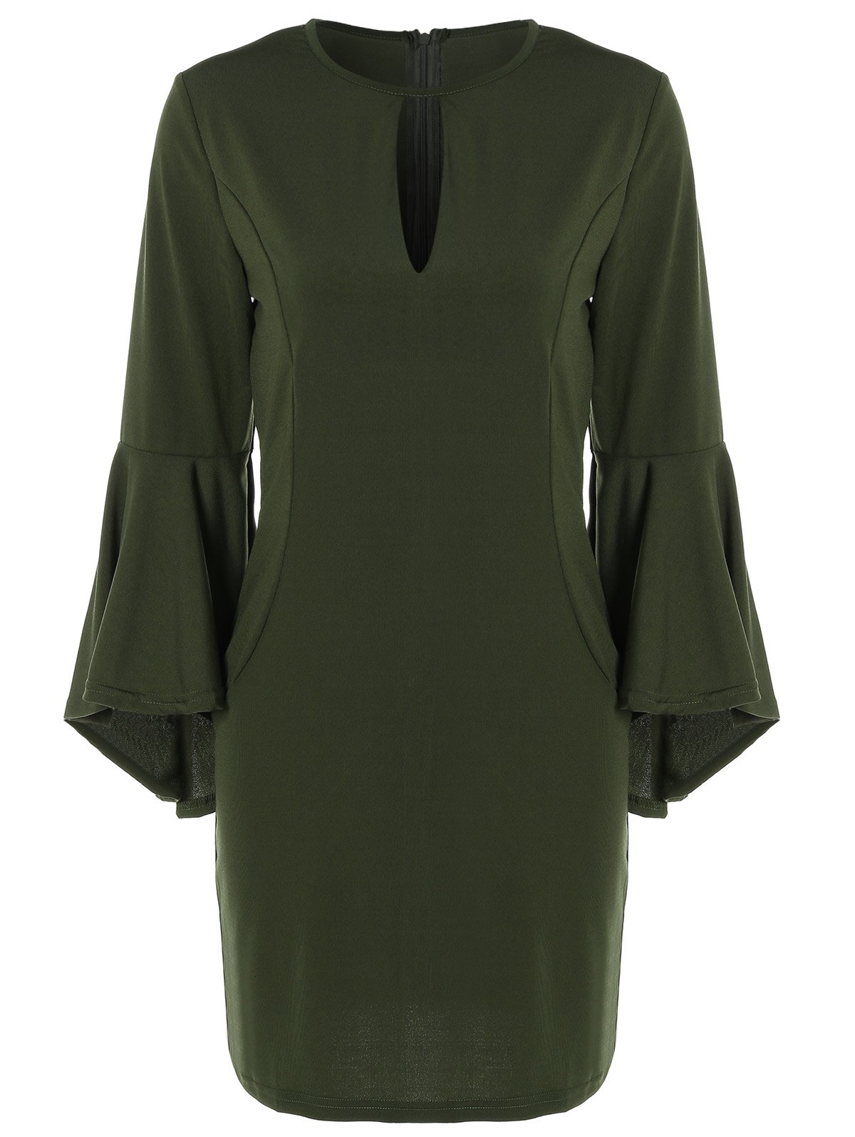 Store Bell Sleeve Keyhole Dress