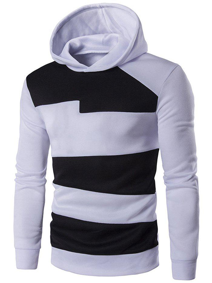 Unique Long Sleeve Contrast Panel Pullover Hoodie