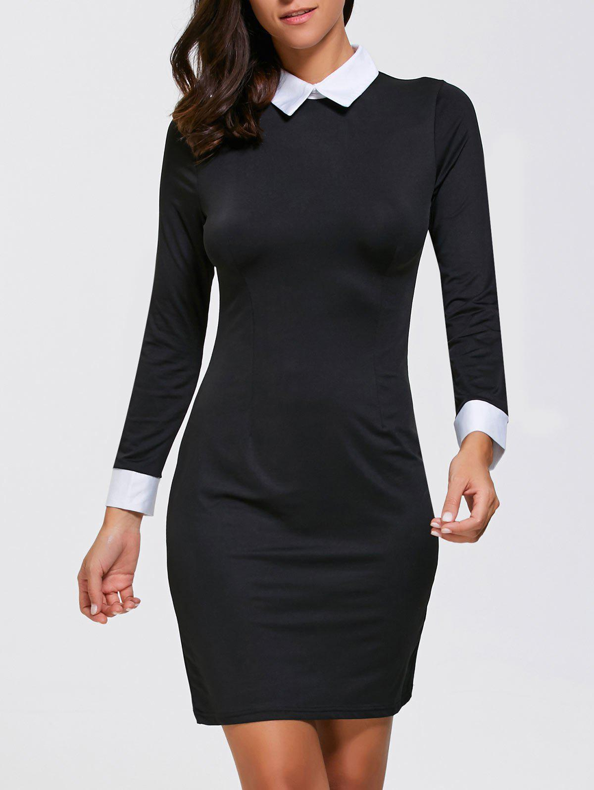 Best Tight Formal Sheath Mini Long Sleeve Collared Dress