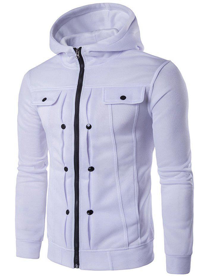 Shop Buttoned Pleat Zip Up Hoodie