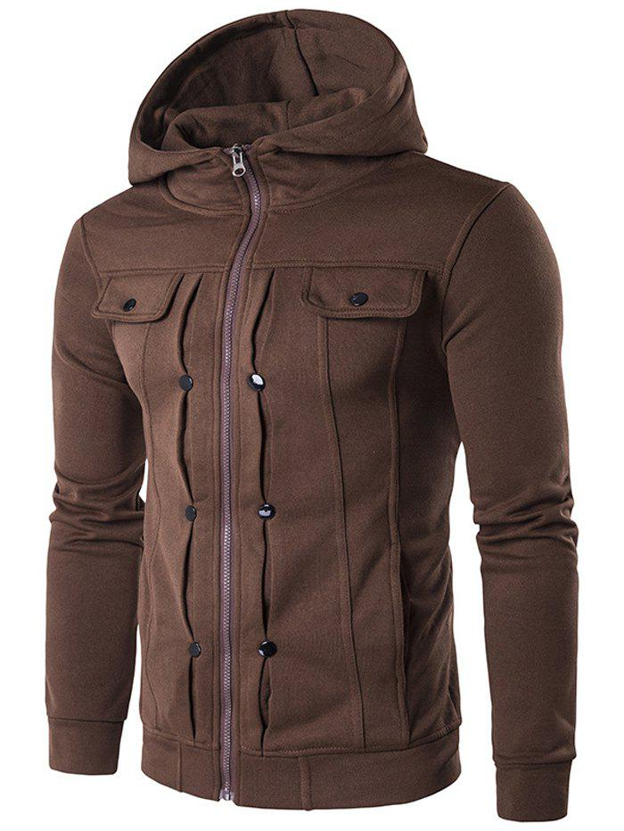 Chic Buttoned Pleat Zip Up Hoodie
