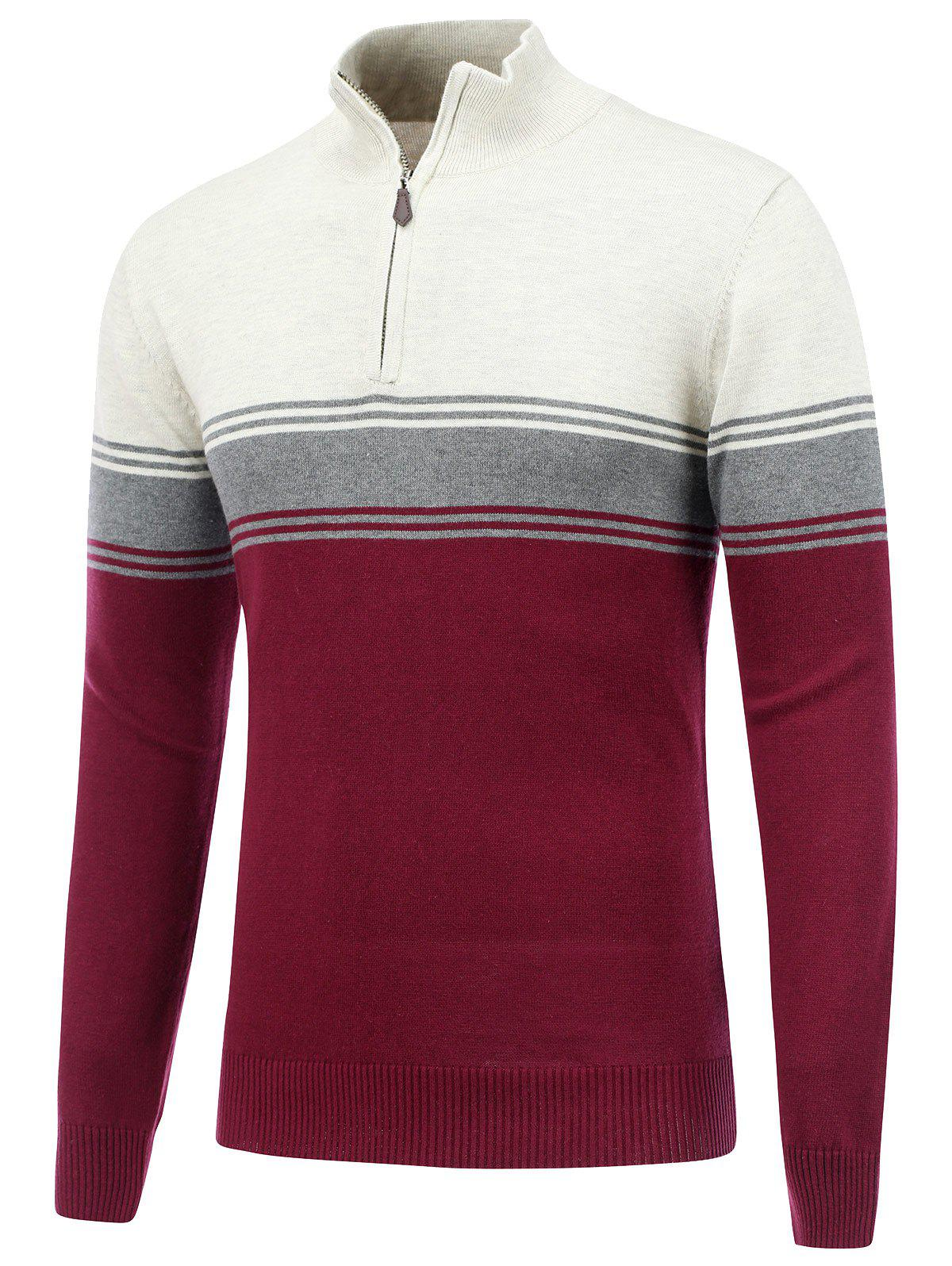 Stand Collar Striped Half Zip Sweater - Burgundy M