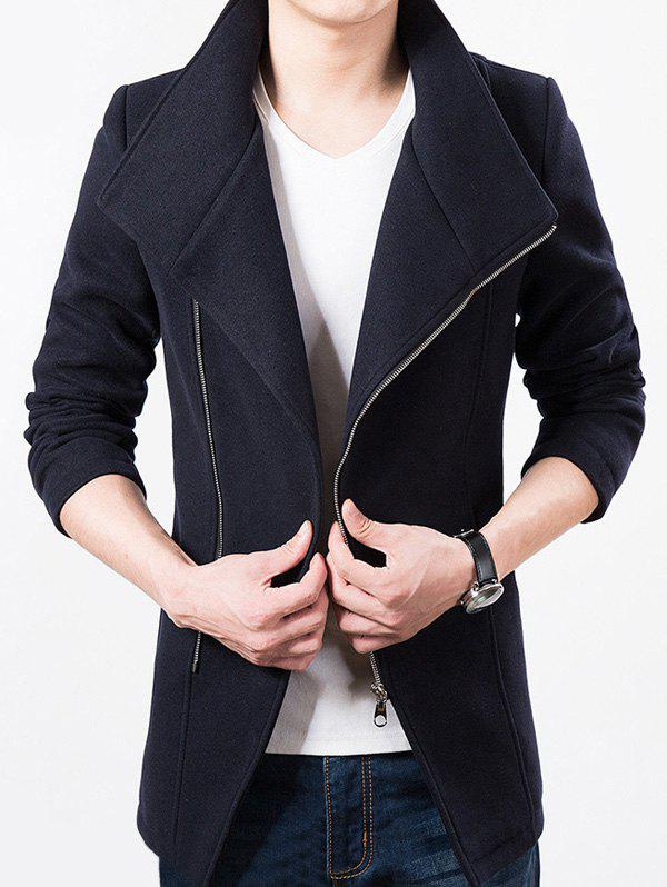 Latest Stand Collar Side Zip Up Wool Blend Jacket