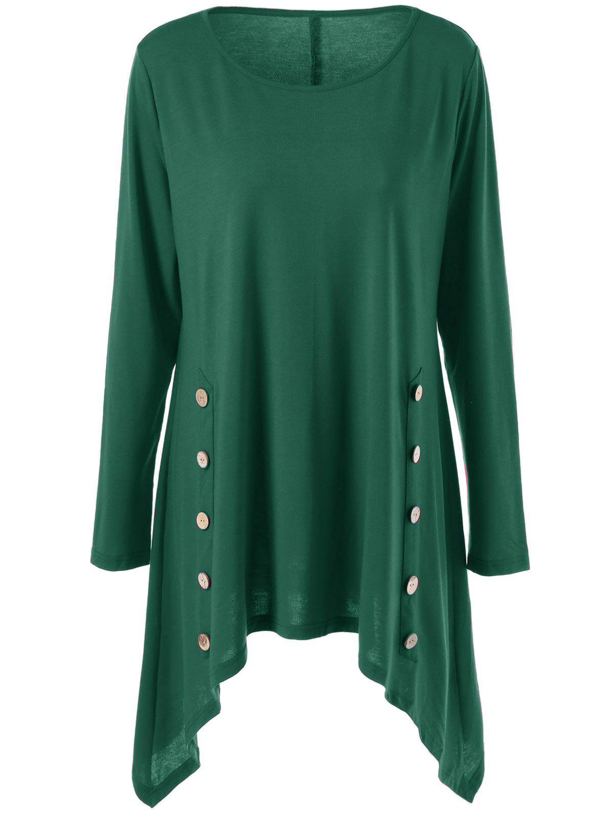 Long Sleeve Plus Size Double-Breasted Asymmetrical T-ShirtWOMEN<br><br>Size: 3XL; Color: GREEN; Material: Polyester,Spandex; Shirt Length: Long; Sleeve Length: Full; Collar: Scoop Neck; Style: Casual; Season: Fall,Spring; Pattern Type: Solid; Weight: 0.380kg; Package Contents: 1 x T-Shirt;