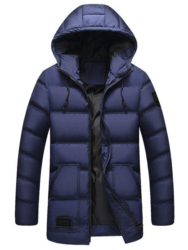 Fancy Zip Up Patch Design Hooded Padded Coat