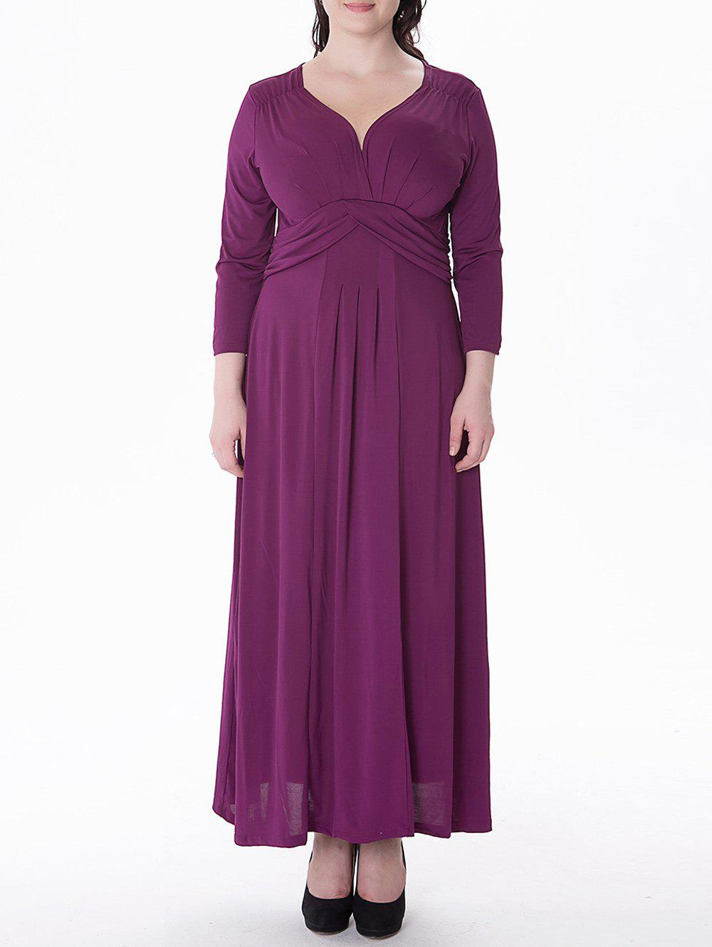 Hot Plus Size Ruched Maxi Formal Dress with Long Sleeves