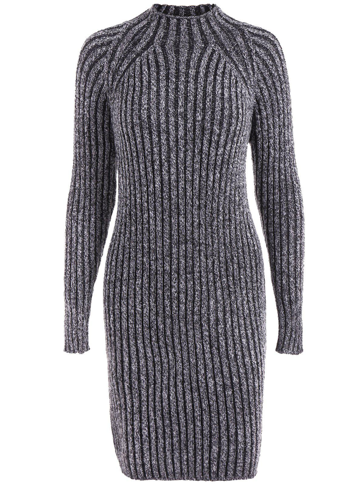 Online High Neck Long Sleeve Ribbed Fitted Jumper Dress