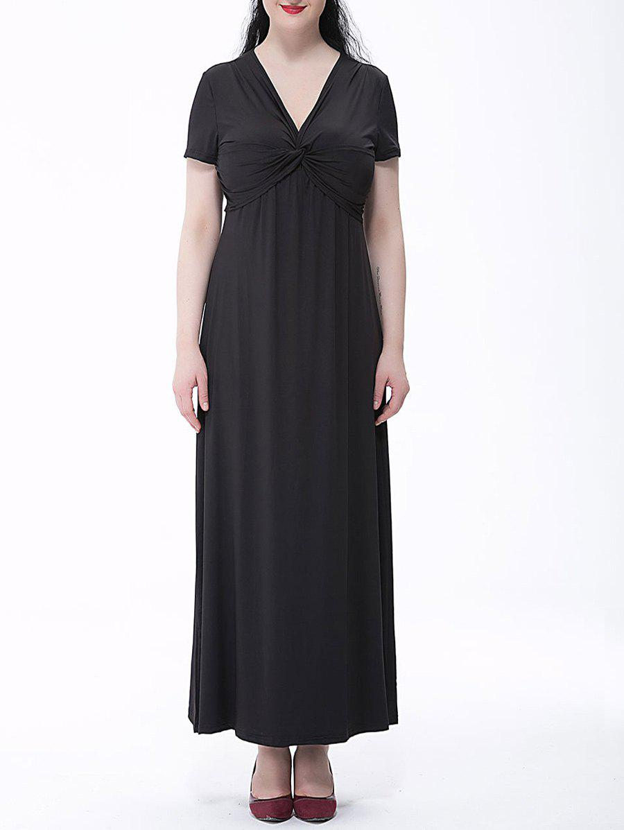 Outfit Plus Size Empire Waist Knotted Maxi Plain From Dress