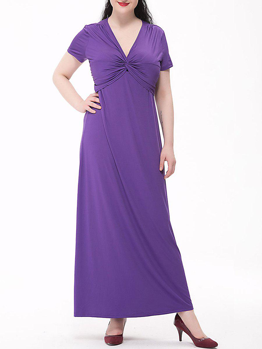 Sale Plus Size Empire Waist Knotted Maxi Plain From Dress