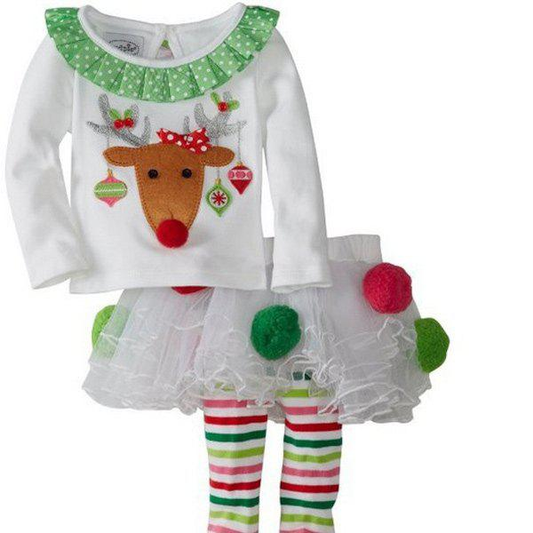 Christmas Elk Pattern Girl Culotte Costume SetHOME<br><br>Size: S; Color: WHITE; Event &amp; Party Item Type: Other; Occasion: Christmas; Weight: 0.270kg; Package Contents: 1 x Costume Set;