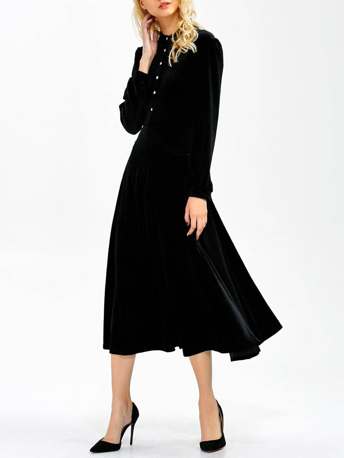 Long Sleeve Button Velvet Midi DressWOMEN<br><br>Size: 2XL; Color: BLACK; Style: Casual; Material: Polyester; Silhouette: A-Line; Dresses Length: Mid-Calf; Neckline: Stand; Sleeve Length: Long Sleeves; Embellishment: Button; Pattern Type: Solid; With Belt: No; Season: Fall,Spring; Weight: 0.350kg; Package Contents: 1 x Dress;