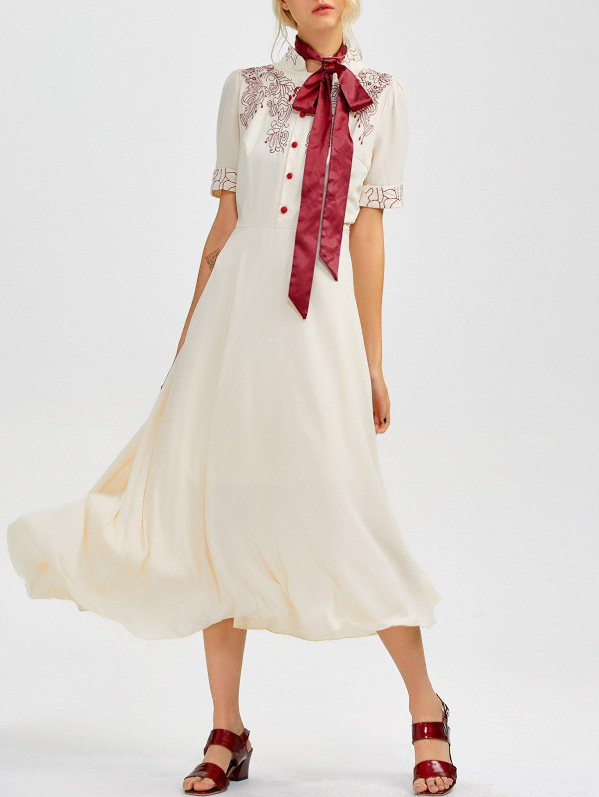 Chic Floral Embroidered Going Out Swing Dress