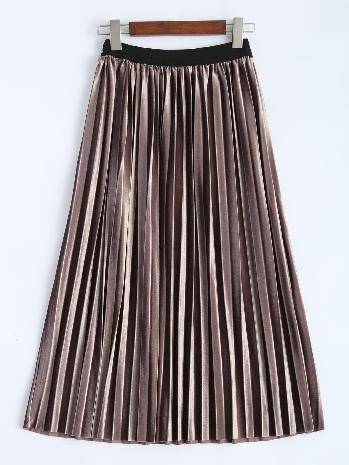 Outfits Accordion Pleat Velvet Skirt