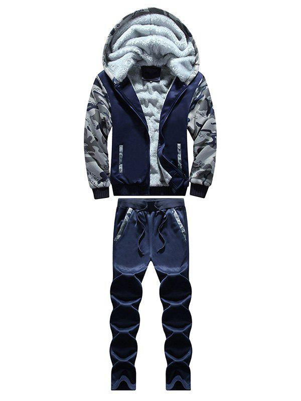 Shops Zip Up Camouflage Panel Hoodie and Sweatpants