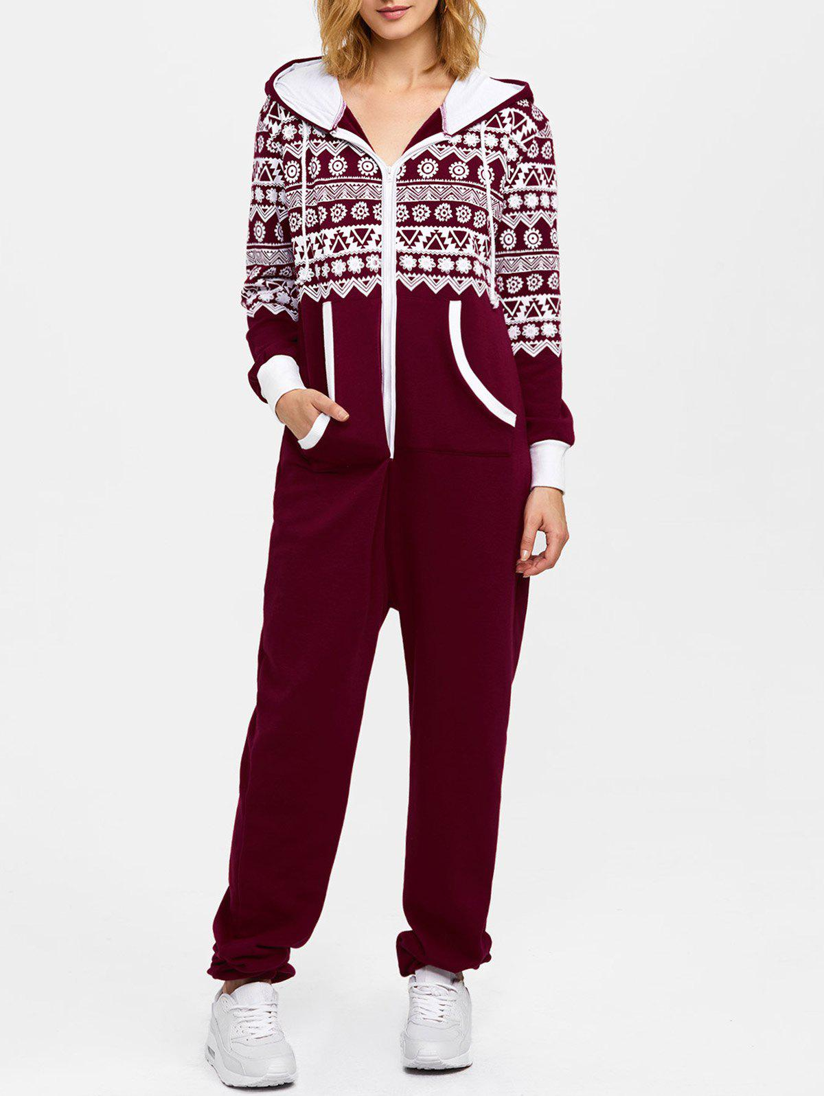 Hooded Geometry Print Christmas JumpsuitWOMEN<br><br>Size: M; Color: WINE RED; Material: Polyester; Fit Type: Loose; Pattern Type: Geometric; Style: Casual; Season: Fall,Spring; With Belt: No; Weight: 0.850kg; Package Contents: 1 x Jumpsuit;