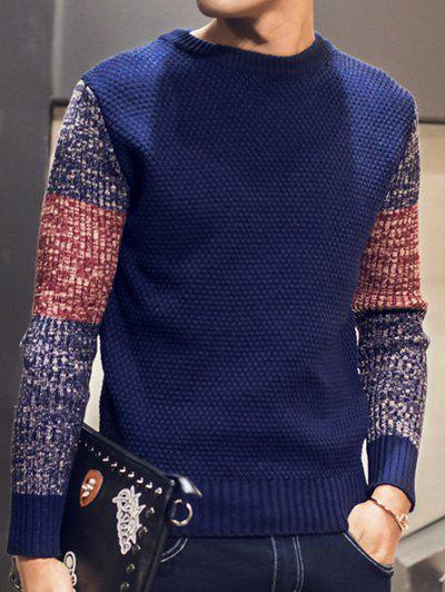 Fancy Color Block Pullover Crew Neck Sweater