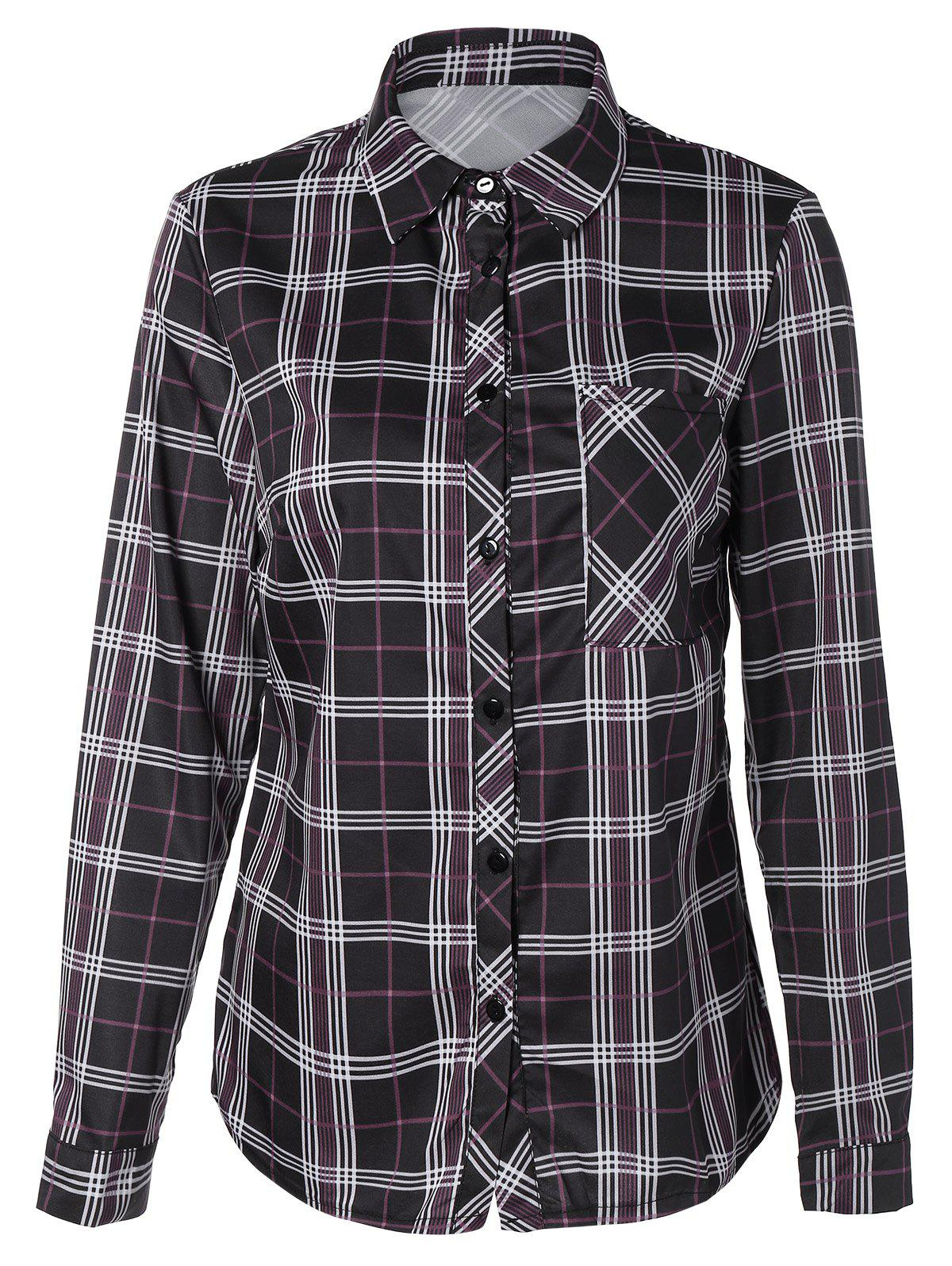 Cheap Tartan Long Sleeve Shirt With Front Pocket