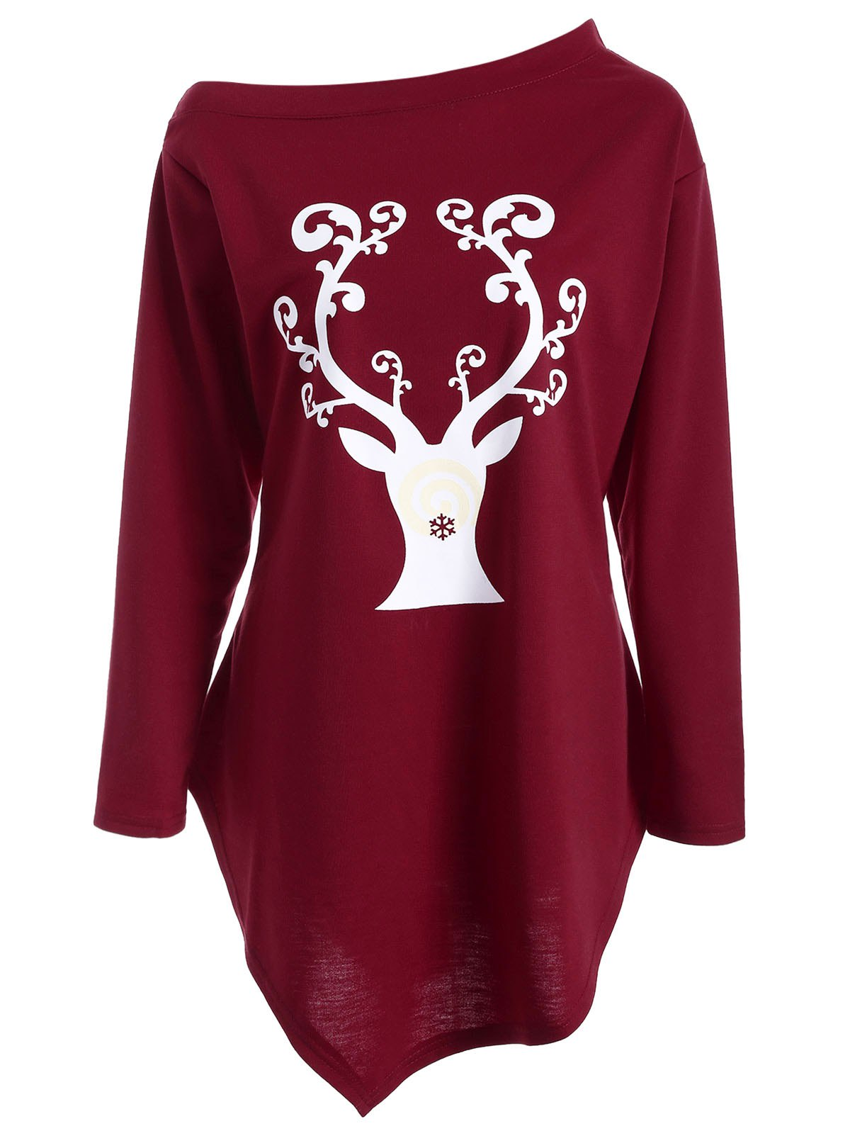 Wapiti Print Asymmetrical Christmas T-ShirtWOMEN<br><br>Size: L; Color: DEEP RED; Material: Polyester; Sleeve Length: Full; Collar: Skew Collar; Style: Fashion; Pattern Type: Print; Season: Fall,Spring; Weight: 0.420kg; Package Contents: 1 x Tee;