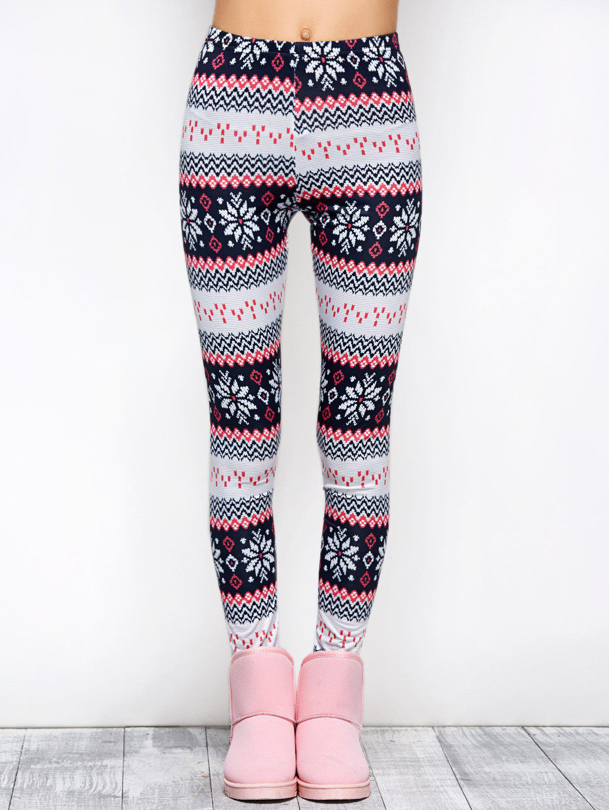 Best Tight Snowflake Print Christmas Leggings