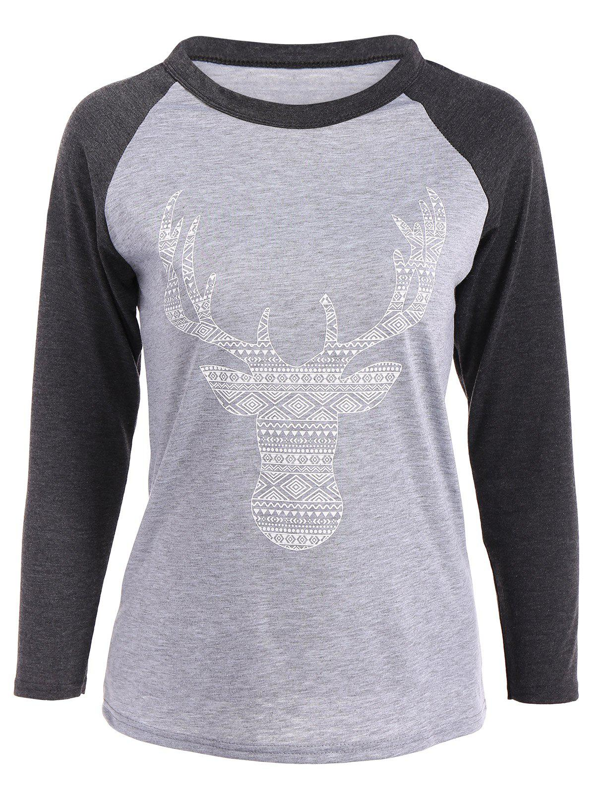 Shops Elk Patterned Raglan Sleeves T-Shirt