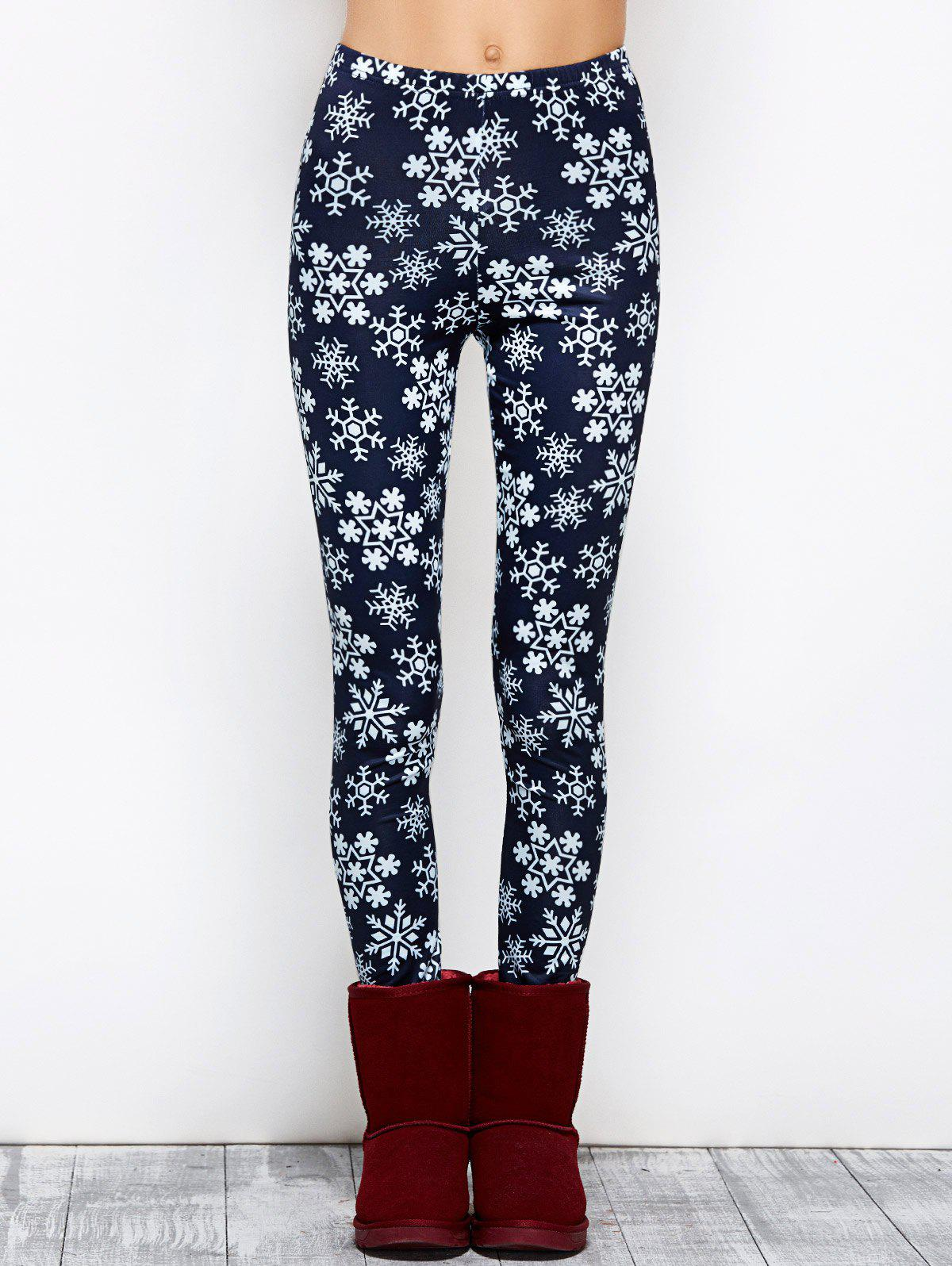 Snowflake Print Stretchy Christmas LeggingsWOMEN<br><br>Size: L; Color: PURPLISH BLUE; Style: Fashion; Material: Polyester; Waist Type: Mid; Pattern Type: Print; Elasticity: Elastic; Weight: 0.250kg; Package Contents: 1 x Leggings;