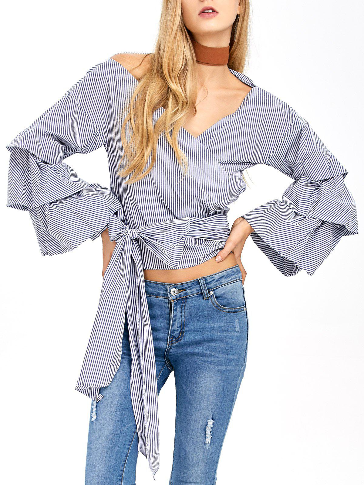 Chic V Neck Layered Sleeve Striped Wrap Blouse