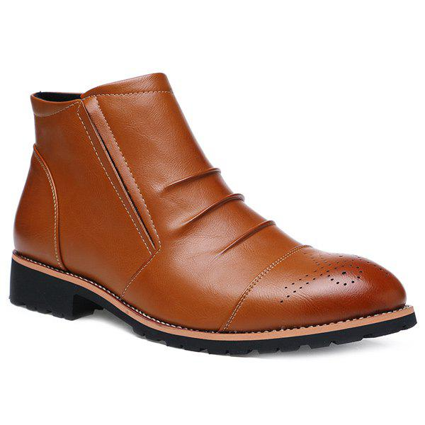 New Pleated Engraving Zip Boots