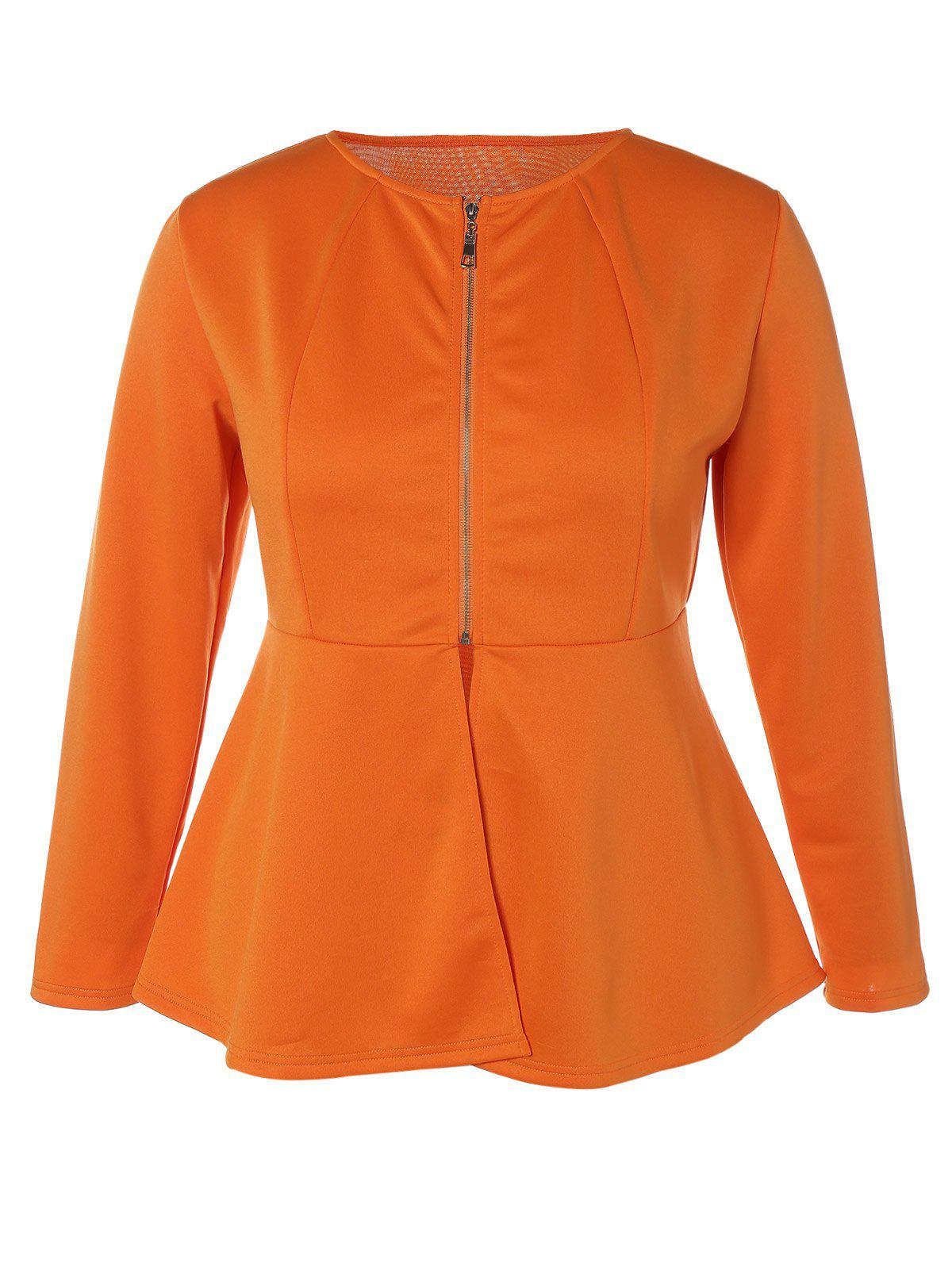 Affordable Zip Up Plus Size Skirted Jacket