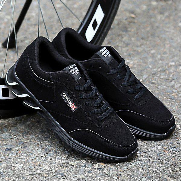 Store Lace-Up Letter Pattern Suede Athletic Shoes