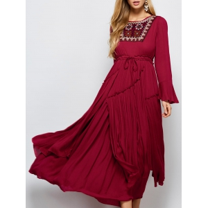 Bell Sleeve Maxi Flowy Pleated Dress