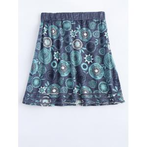 Elastic Waist Round Flower Print Patched Skirt -