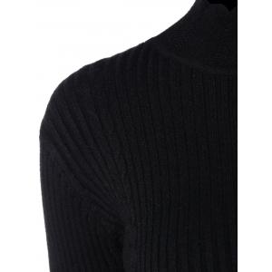 Drop Shoulder Scalloped Ribbed Sweater -