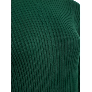 Drop Shoulder Scalloped Ribbed Sweater - BLACKISH GREEN ONE SIZE