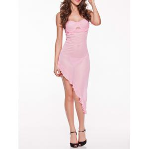 Asymmetric See-Through Babydoll - Shallow Pink - One Size