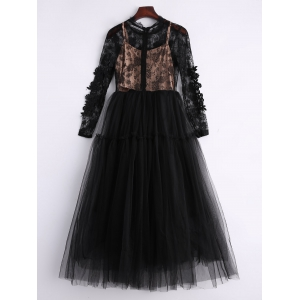 Long Sleeve Sequins Tulle Evening Dress with Bralet Top - BLACK S