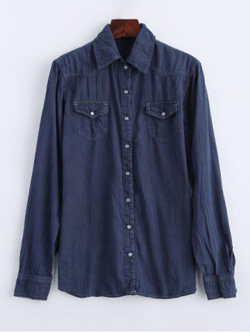 Affordable Faux Gem Button Long Sleeve Field Shirt MIDNIGHT L