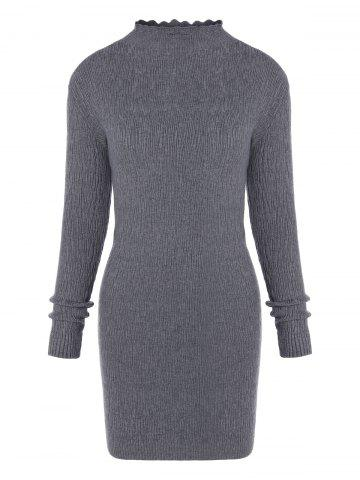 Online Ruffle Long Sleeve Fitted Sweater Dress