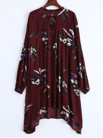 Outfits Long Sleeve Floral Print Asymmetric Dress