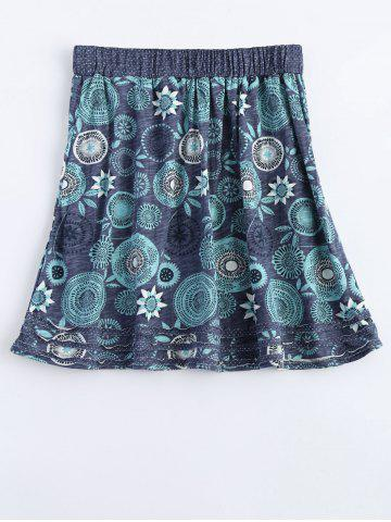 Outfits Elastic Waist Round Flower Print Patched Skirt