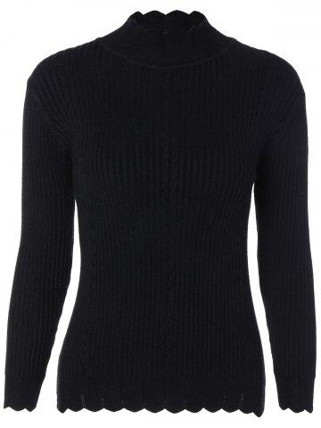 Online Drop Shoulder Scalloped Ribbed Sweater