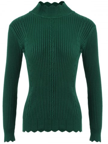 Fashion Drop Shoulder Scalloped Ribbed Sweater BLACKISH GREEN ONE SIZE