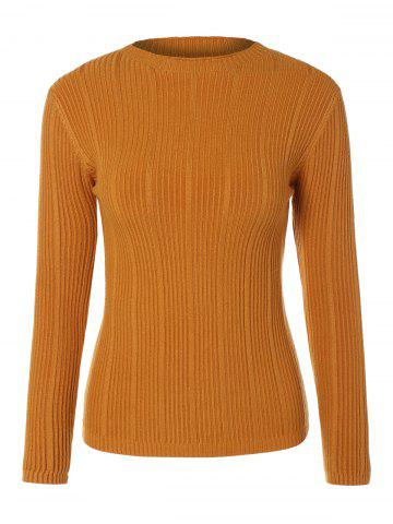 Cheap Long Sleeve Drop Shoulder Ribbed Knitwear