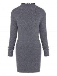 Ruffle Long Sleeve Fitted Sweater Dress -