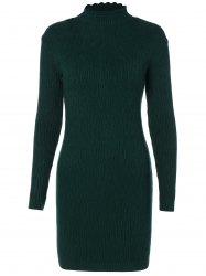 Ruffle Long Sleeve Fitted Sweater Dress