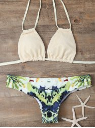 Print Backless Halter String Bikini - COLORMIX L